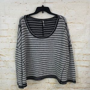 Free People L French Terry striped shirt scoop